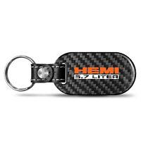 Dodge SRT Hellcat Gunmetal Gray Metal Plate Carbon Fiber Texture Black Leather Key Chain iPick Image for