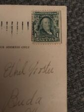 Rare Ben Franklin 1 Cent Stamp on Marshal Field post card dated 12/23/1907.