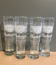 BUDWEISER BUD Tall PINT GLASSES Set Of 4 BRAND NEW