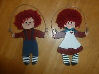 Raggedy Ann & Andy Wooden Ornaments - Wall Decorations -Folk Art