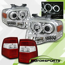 [CCFL Halo] 2007-2012 Ford Expedition Chrome Projector Headlights+LED Tail Lamps