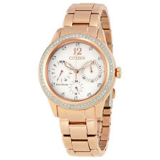 Citizen Silhouette Crystal White Dial Rose Gold-tone Ladies Watch FD2013-50A-AU
