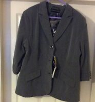 Ladies Grey Jacket And Black Rose Brooch By Wardrobe Size 18