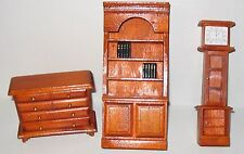 Mini Doll Furniture Set, 3 Pieces, Made of Wood, Clock, Bookcase, Drawer Chest