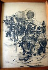 """USA, american painter Pal Fried , """"Cowboy convoy"""", paper, charcoal pencil,1940`s"""