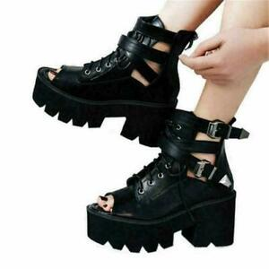 Punk Goth Roma Gladiator Women Sandals Platform High Heel Open Toe Boots Creeper