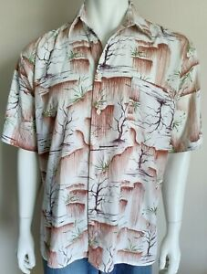 MENDORAL vintage mens size Large shirt abstract short sleeve retro casual party