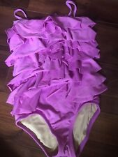 girls CREWCUTS PURPLE 1 PIECE SWIMSUIT ruffle CUTE lined FANCY size 6/7 beach