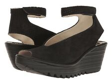 Fly London Women's Yala Perf Peep Toe Wedge Sandals - Black Cupido