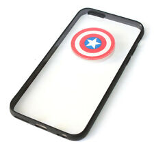 for iPhone 6 / 6S - Black Clear Captain America Hard TPU Rubber Gummy Case Cover