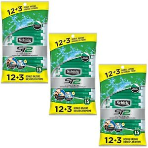 45 Schick ST2 Slim Twin 2-Blade Razor Disposable (15 Razors/Pack, Total 3 Packs)