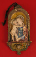 ANTIQUE CERAMIC VIRGIN MARY AND CHRIST CHILD BABY JESUS WALL PLAQUE BATIGNANI !!