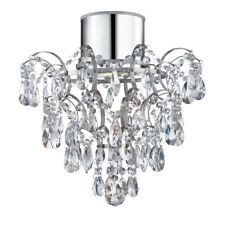 Searchlight 7901-1CC-LED IP44 Bathroom Chandelier With Crystal Droplets And Butt