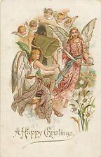CHRISTMAS – Seven Angels, Bell and Flowers A Happy Christmas - 1905