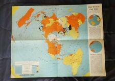 Original Vintage 1942 One World One War Fortune Flat Map of Earth WW2