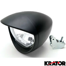 "New 6.5"" Black Bullet Head Light Lamp W/ Visor For Harley Custom Chopper Bobber"