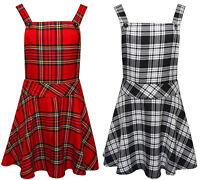 Ladies Womens Tartan Check Pinafore Dungarees Buttoned Mini Skirt Dress 8 - 14