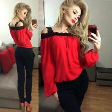 Women Sexy Off Shoulder Long Sleeve Shirt Lace Chiffon Blouse Loose Top T-Shirt