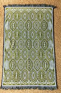 Vintage 1960s towel, blue & green, fringe Martex made in USA, as is