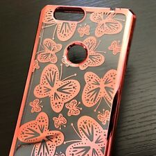 ZTE SEQUOIA / BLADE Z MAX - Hard TPU Rubber Gel Case Clear Rose Gold Butterfly