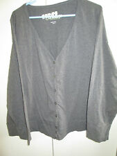 Target Size 24 Grey Button Front Top Unlined Long Sleeve Cotton Blend Stretch