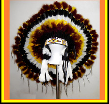 "Genuine Native American Navajo Indian Headdress 36"" WILD SKY Burgundy & Yellow"