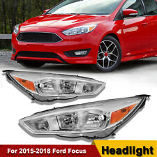 Fit 2015-2018 Ford Focus Gen3 Pair Black Housing Amber Side Headlight/Lamp Set