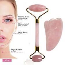 Facial Massage Roller Tool - Natural Pink Rose Quartz Crystal Stone Face Neck HA