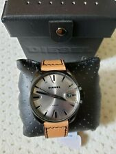 NWT Diesel Men's MS9 Black IP & Brown Leather Watch DZ1863