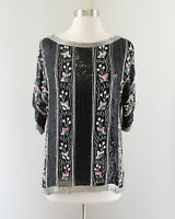 Vtg Black Striped Floral Silk Beaded Sequin Evening Blouse Top Pink Silver Sz M