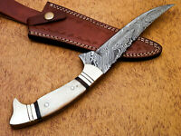 Rody Stan HAND MADE DAMASCUS HUNTING KNIFE -  FULL TANG - BRASS BOLSTERS-MP-4744