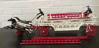 """Vintage 30"""" Long Cast Iron Ladder Wagon with Horses, Firemen, Ladders, Fire Bell"""