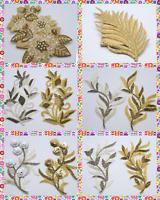 1PC Metallic Pearl Gold / Silver Ivory Applique,Motif,Bridal,trim,Wedding,Beaded