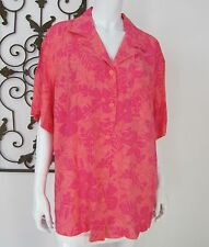 Marsh Landing II NWT Short Sleeve Button Down Blouse Plus Size 2X Pink Floral