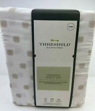 Threshold 4 Piece King 300 Thread Count Printed Organic Sheet Set White & Beige