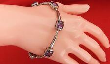 925 Sterling Silver Purple Cubic Zirconia Bar Link Bracelet