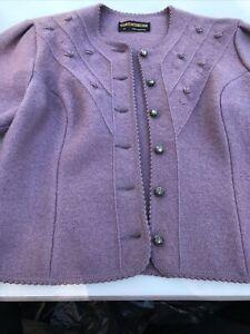 Geiger Austria Women's Lavender Boiled Wool Cropped Jacket Cardigan, Sz 38 S