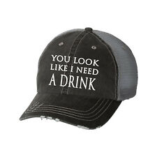 You Look Like I Need a Drink Glitter Ladies Trucker Hat - Country Lyrics South