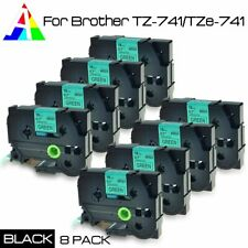 8PK TZ741 TZe741 Black on Green 18mm Label Tape For new P-touch US STOCK