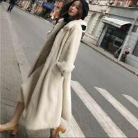 Womens Real Trench Mink Fur Long Coat Oversized Chic Thick Jacket Parkas