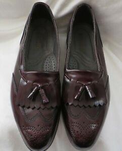 Dexter Men's Burgundy Leather Tassel Wing Tip Loafers Dress Shoes Size 10.5 M