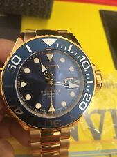 NEW INVICTA RESERVE 50mm GRAND DIVER SWISS MADE AUTOMATIC GOLD BLUE WATCH 22858