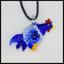 Fashion Women's cock lampwork Murano art glass beaded pendant necklace #A11