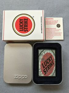 VINTAGE 1998 LUCKY STRIKE WALL BLACK MATTE ZIPPO LIGHTER MIB RARE