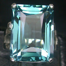 VERY BIG! AAA BLUE GREEN AQUAMARINE 925 STERLING SILVER RING SIZE 7.5