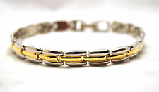 SPECIAL BUY! UNISEX 7.5  & 9.5 IN MAGNETIC THERAPY GOLD & SILVER LINK BRACELET