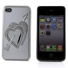 Apple iPhone 4 4S 4G Silver Hard Case Chrome Hearts Rhinestone Bling Cover Skin