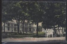Postcard ROCHESTER Indiana/IN  Woodlawn Hospital & Horse Drawn Ambulance 1907