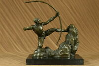 Bronze Metal Art Deco Classic Sculpture Male Archer Bow Arrow Statue Marble DEAL