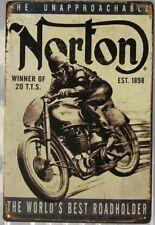 NORTON Rustic Look Vintage Tin Metal Sign Man Cave, Shed-Garage & Bar Sign